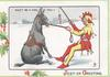 JEST-ER GREETING DON'TBE A FOOL    donkey you, jester in red & yellow tempts seated donkey on snow