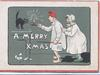 A MERRY XMAS couple in night clothes (man with candle & poker) investigate noise-was from squalling black cat