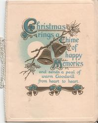 CHRISTMAS RINGS A CHIME OF HAPPY MEMORIES... bells in front of full moon