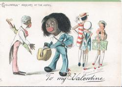 """GOLLIWOGG"" ARRIVES AT THE HOTEL , TO MY VALENTINE"