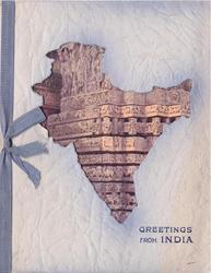 GREETINGS FROM INDIA in blue below India cut-out, view of TEMPLE OF HALEBID (oilfacsim)