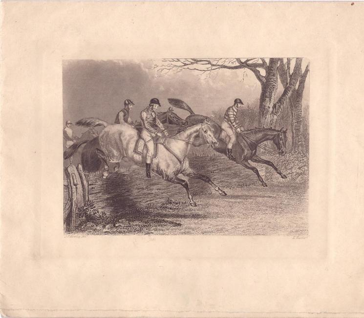 no front title, men on horseback jump right, engraving