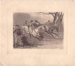 no front title, men on horseback jump right, engraving