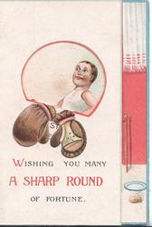 WISHING YOU MANY A SHARP ROUND OF FORTUNE, window to show tall & short boxers flap that opens