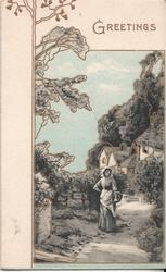 GREETINGS in gilt, woman stands on path holding basket