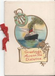GREETINGS ACROSS THE DISTANCE on parchment below inset of ocean liner