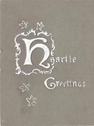 HEARTIE GREETINGS embossed in white (H illuminated), stylised flowers, sage card stock