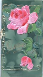 GREETINGS in gilt, very heavyily embossed pink rose & bud on deep green background