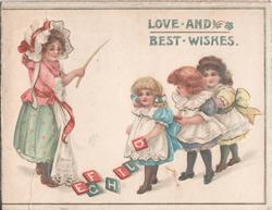 LOVE AND BEST WISHES four girls play with block letters