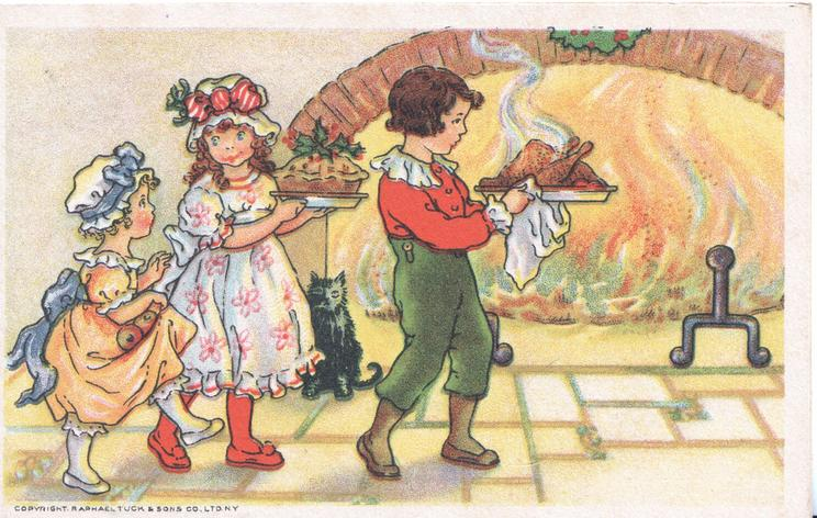 no front title, boy carrying turkey & girl carrying pie walk right in front of blazing fire,small girl follows, black cat observes