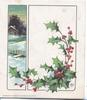 no front title, berried holly right, winter rural inset left, distant lighted cottage