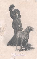 BEST WISHES woman in old style winter dress restrains hound on lead
