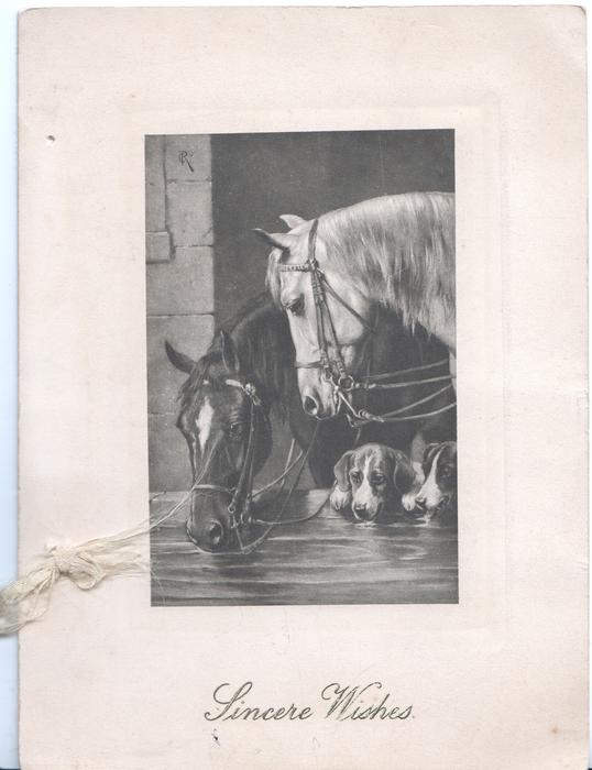 SINCERE WISHES in green below inset of 2 horses & 2 hounds looking over stable door