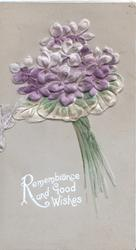 REMEMBRANCE AND GOOD WISHES in white below bunch of violets, light brown background