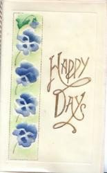 on celluloid front HAPPY DAYS in gilt right, 4 blue pansies left