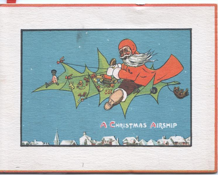 A CHRISTMAS AIRSHIP in white, Santa flies a fantasy airplane, deep blue sky