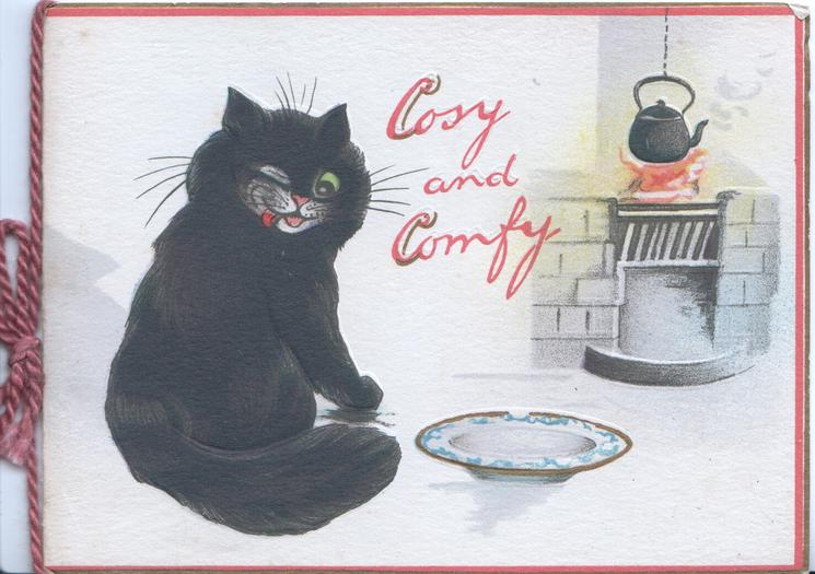 COSY AND COMFY in red, black cat sits by empty plate & kettle on blazing fire