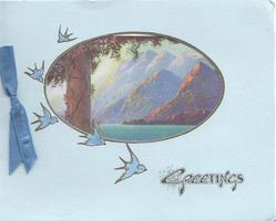 GREETINGS perforated oval inset to reveal large tree left, water & mountains, 5 bluebirds fly