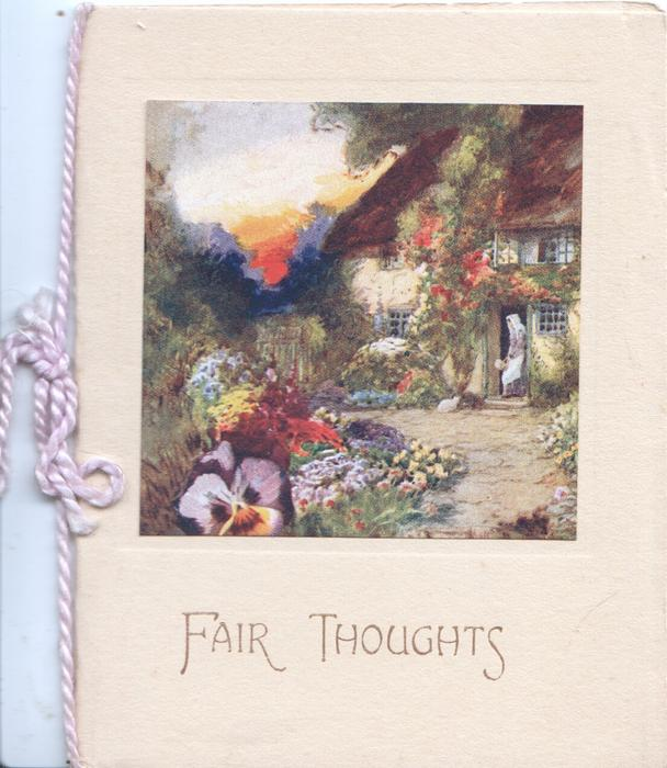 FAIR THOUGHTS below inset of very colourful garden, woman in doorway