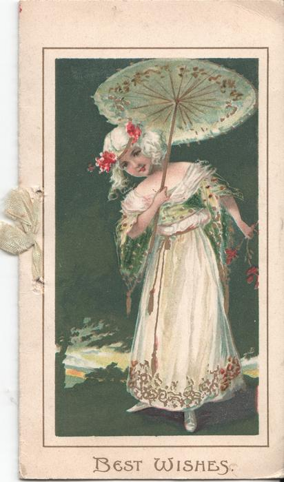 BEST WISHES in gilt below girl standing under open parasol, night view