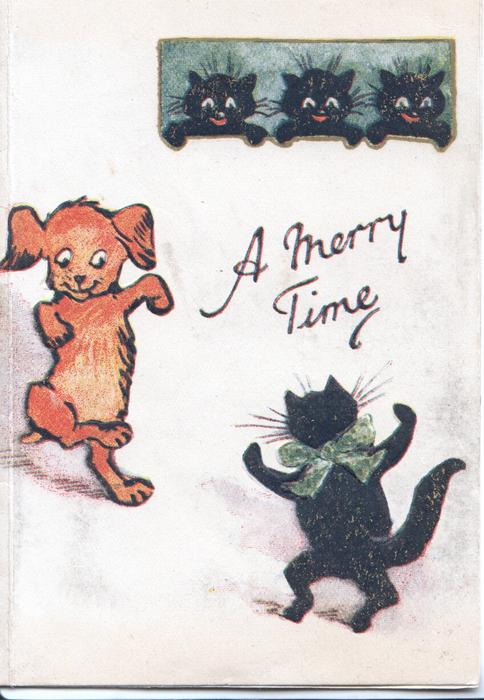 A MERRY TIME in gilt dog & black cat dance on their hind legs, 3 black cats observe from above