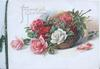 FRAGRANT WITH GOOD WISHES red, pink & white roses on wicker basket