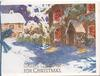 CHEERY GREETINGS FOR CHRISTMAS snowy evening vilage scene, lighted cottages, white margins