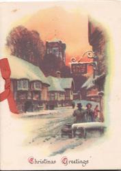CHRISTMAS GREETINGS below snowy street scene, church behind, KINGS HEAD pub sign over 2 people