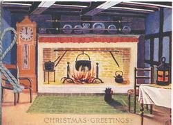 CHRISTMAS GREETINGS in gilt below cottage interior, cat in front of blazing fire, clock at 12