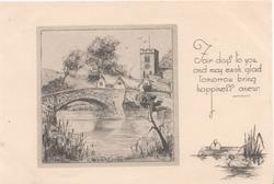 FAIR DAYS....verse inset of village, bridge over river, houses & church, 2 ducks lower right, cream background