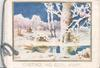 GREETINGS AND GOOD WISHES below gilt bordered inset snowy winter rural scene, very distant horse & cart