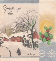 GREETINGS TO YOU above snowy rural winter scene, person walks to buildings, tree right