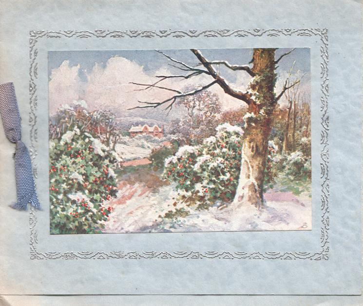 no front title, silver & blue marginal design snowy winter rural scene, path between holly bushes
