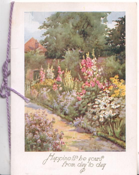 path from lower right few purple daisies left, hollyhocks & many flowers in front of wall