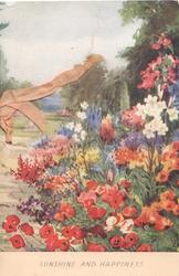 SUNSHINE AND HAPPINESS below garden scene, anemones, lilies & many other flowers
