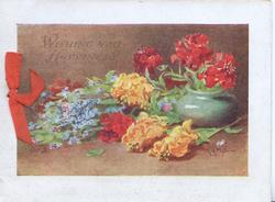 WISHING YOU HAPPINESS above forget-me-nots, red & yellow roses, green pot