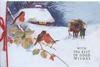 WITH THE BEST OF GOOD WISHES, English robins perch left, man with horse & cart right, cottage back