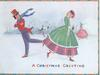 A CHRISTMAS GREETING man & woman caricatures skate by each other, exchanging smiles