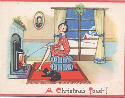 A CHRISTMAS TOAST!  caricature of woman toasting bread by open fire, black cat observes