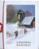 CHRISTMAS GREETINGS in gilt below 3 people walking up snowy hill to lighted church