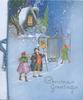 CHRISTMAS GREETINGS in gilt below watchman & 2 trumpeters at the gate to a mansion, snow scene