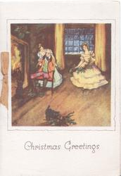 CHRISTMAS GREETINGS below inset 3 people in old style dress, blazing fire, kitten & holly front