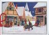 EVERY GOOD WISH, people in old style dress walk in town square, winter snow scene