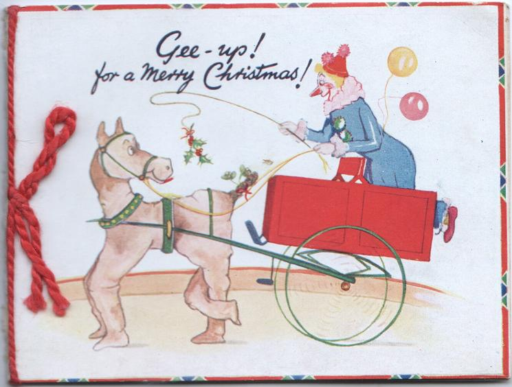 GEE-UP! FOR A MERRY CHRISTMAS! caricatures of clown driving left