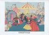 GREETINGS in gilt below caricatures of many people in old style dress atternding country fair