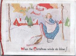 WHEN THE CHRISTMAS WINDS DO BLOW! caricature of woman hanging out washing, sock blows away, snow scene