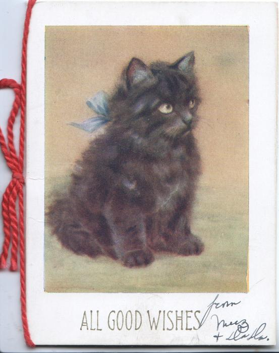 ALL GOOD WISHES inset seated black kitten facing half right. olive green background
