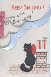 KEEP SMILING! in red, EVERY CLOUD HAS A SILVER LINING! black cat sits on roof