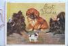 BEST WISHES in gilt above 2 pomerains & a pekinese disapproving a small toy dog on wheels