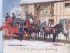 A HAPPY CHRISTMAS 4 horse coach stopped at public house, passengers & staff around